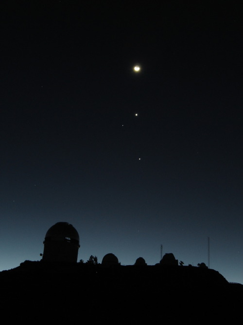 fyeahuniverse:  Moon, Venus, Spica, and Jupiter (descending order) conjunction over Cerro Tololo Inter-American Observatory in 2005. (Image credit: A. Pasten, A. Gomez and NOAO/AURA/NSF)