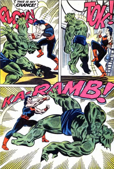 Not sure which devastated the Abomination more, Wonderman's strength, or his sweet, sweet, mullet…