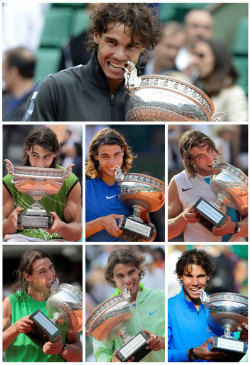 siphotos:  Rafael Nadal captured his Open-era record seventh French Open on Monday, defeating Novak Djokovic 6-4, 6-3, 2-6, 7-5 in the rain-suspended men's final at Roland Garros. And as his custom after a big victory, Nadal took a bite out of the trophy. This photo compilation shows the Spaniard chomping down after his seven championships at the French Open. (AFP PHOTO / PASCAL GUYOT / THOMAS COEX / ERIC FEFERBERG / JACQUES DEMARTHON / MIGUEL MEDINAPASCAL GUYOT/AFP/Getty Images) GALLERY: Nadal Through the Years | Best Shots From 2012 French Open