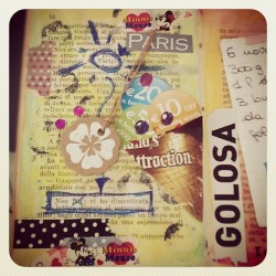 #recipes #paris #icecream #collage #decotape #tape #washi #smashbook #scrapbook #smash #journal #paint  (Scattata con Instagram)