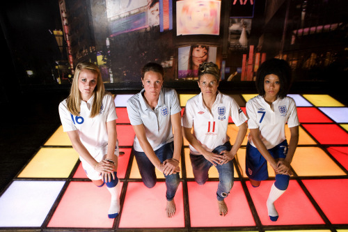 England's Sophie Bradley, Casey Stoney, Sue Smith and Jess Clarke take their disco seriously