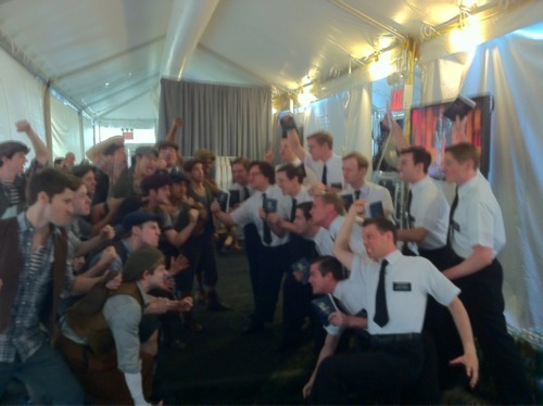 thejourney-workofthestars:  The casts of Newsies and Book of Mormon in a rumble backstage at the Tony Awards.  this is the best thing I've ever seen. ever.