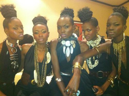 BackstModels getting ready backstage to showcase Adele Dejaks' fabulous accessories @ the international fashion show that featured Gloria Wavamuno and Catherine& Sons @ Serena- Kampala-9th June 2012