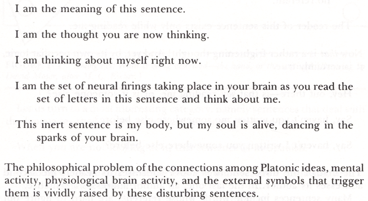 "from ""On Self-Referential Sentences"" by Douglas Hofstadter, originally in Scientific American (January 1981), reprinted in Metamagical Themas (1985) via crystilogic"