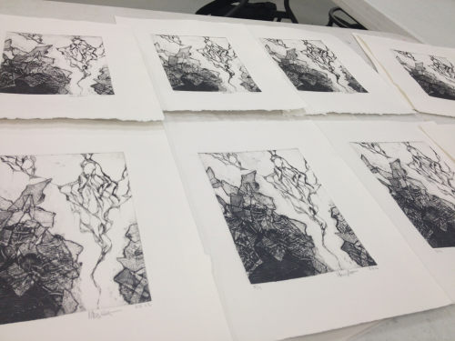 malloryhartart:  Edition of collagraph/dry point prints!  There are my prints from my last printmaking project!