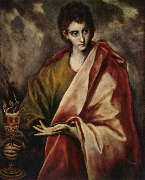 aminorpoetofthegreekanthology:  El Greco,  St. John the Evangelist  (somewhere between 1598 and 1604). It's absolutely fascinating: the lines and the shades. I love him for being stuck somewhere in between Mannerism and Baroque and brining this Orthodox iconography flavor to his paintings.