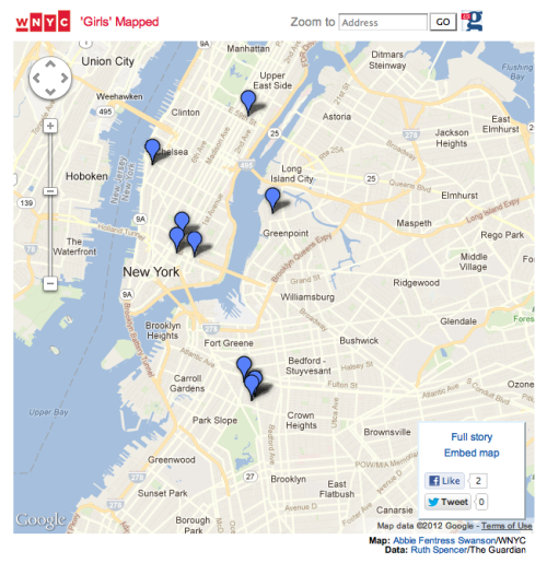"wnyc:  Where To Find the 'Girls' in NYCHelp us map out where to find the ""Girls"" in the city by sending in a spot you've seen in the series. We also want to map out places where episodes are being shot. Just send an email that includes the hang-out and the episode it was in to girlsmapped@wnyc.org."