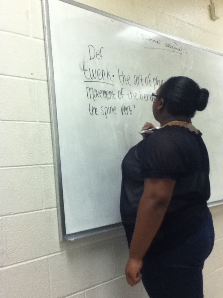 ibreedunicorns:  this big black girl in my math class started writing the definition of twerk today for no reason on the board