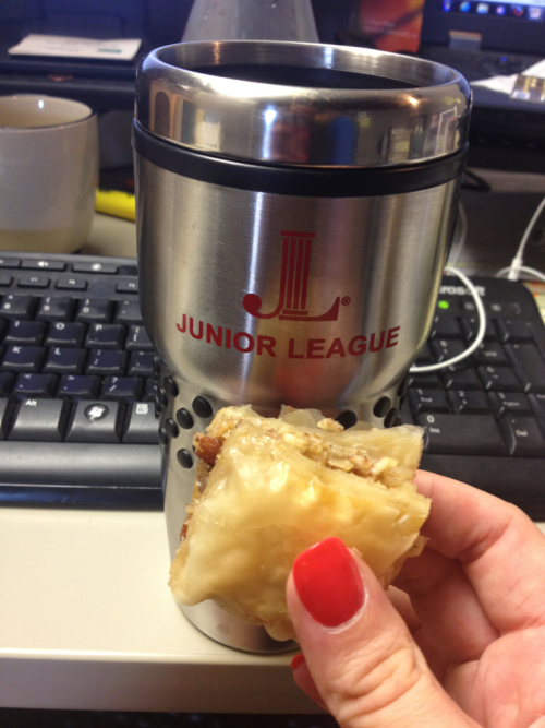 Breakfast of Champions = Baklava + black coffee  *not pictured: echinacea, pink lady apple
