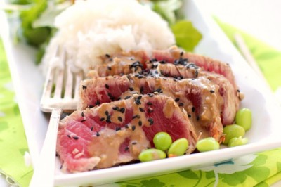 Seared Ahi and Arugula Salad with Ginger Soy Dressing
