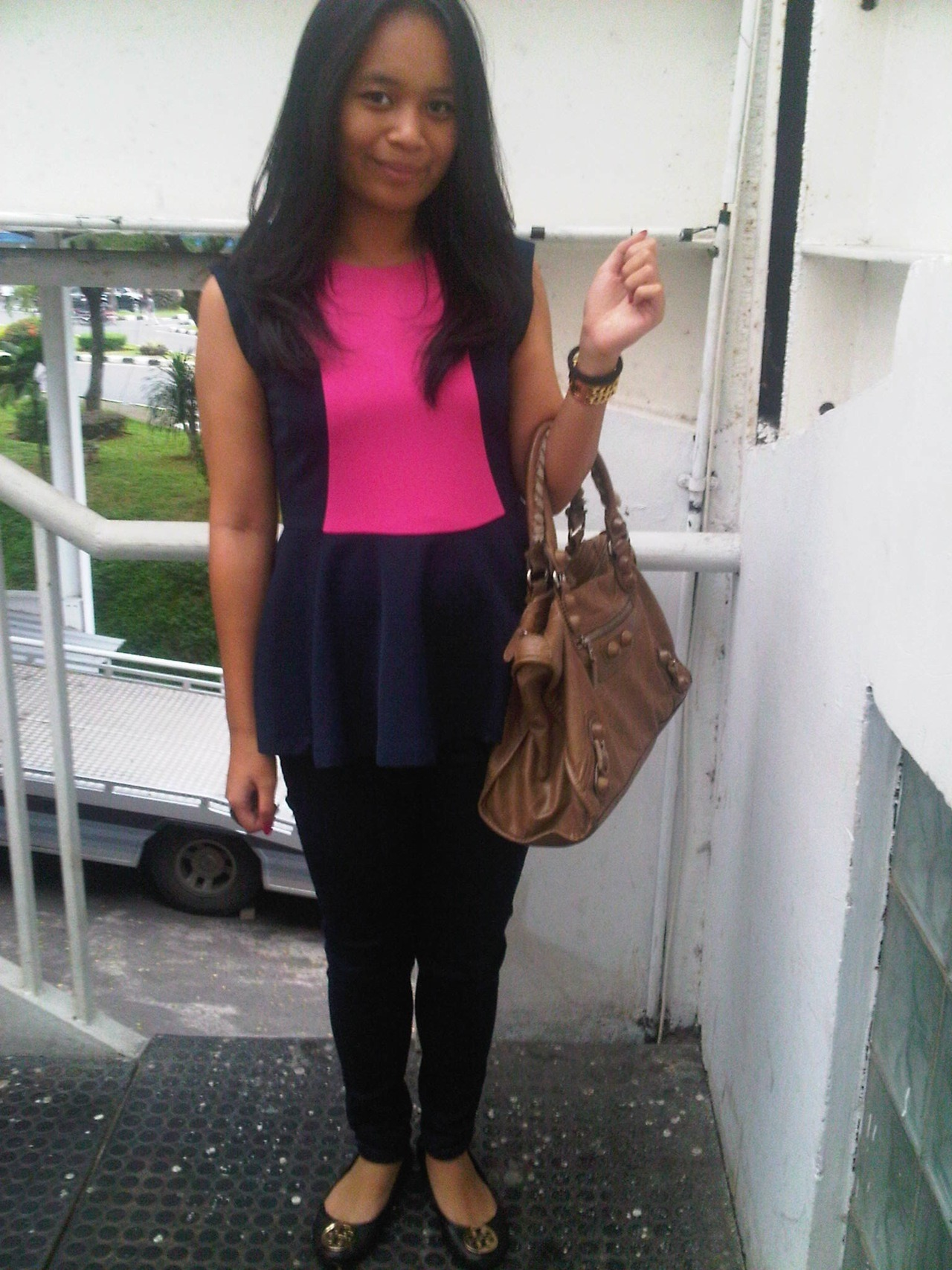 i was wearing : 1. Maje peplum top 2. Bleulab jeans 3. Balenciaga bag 4. Tory Burch flats