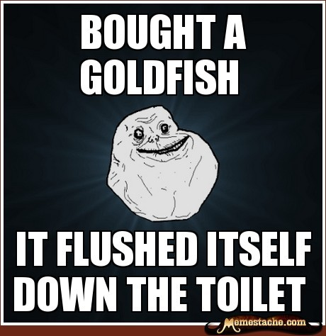 Forever Alone: bought a goldfish… http://www.memestache.com/Forever+Alone/bought-a-goldfish/206636