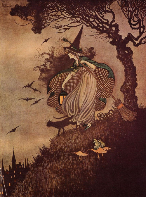 Beautiful antique children's fairytale illustration by Ida Rentoul Outhwaite, circa 1916 - featuring some of my favourite things.  Bats, cats and a witch.