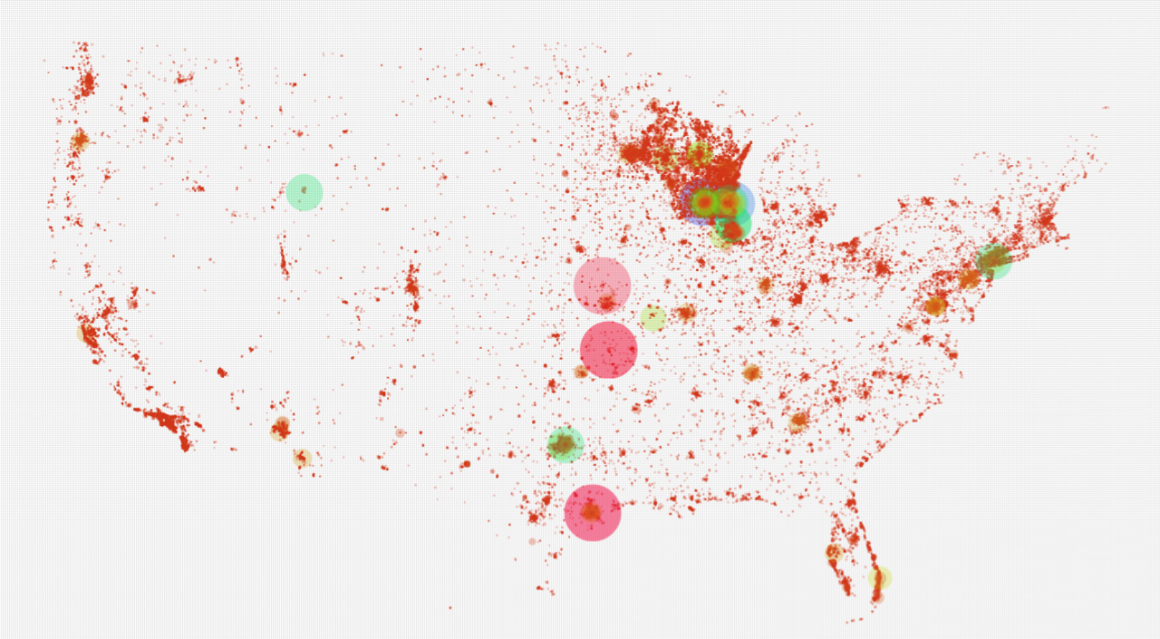 Data Hacker has had a series of posts mapping political donations across the United States. It's a pertinent topic given the recent Walker recall campaign, where out-of-state contributions were highly critiqued. The topic has ongoing relevance which is brought-up for every election. These maps are well-executed and their site contains several permutations on colors—usually light and dark themed. Here are the images (in order): Democratic superpac contributions Recall Walker contributions Rahm Emanuel contributions Superpac Contributions by gender