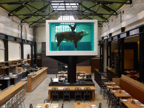 The Interior of Tramshed, featuring Damien Hirst's Cock and Bull, 2012. Photo by Prudence Cuming Associates. © Damien Hirst and Science Ltd.