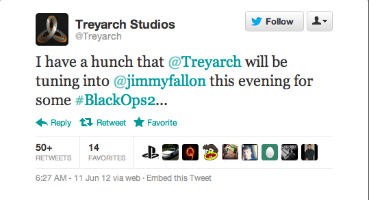 Black Ops 2 is to be showcased on Late Night with Jimmy Fallon TONIGHT, June 11th, 2012! Last year, on June 14th, 2011 they showcased Modern Warfare 3 and played some Spec Ops Survival. I'm calling them to play Zombies tonight…I swear to God if they don't I am going to lose it! Can't wait, what about you???