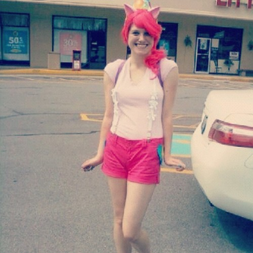 All things considered? Not a bad first attempt at cosplaying Pinkie Pie. I need to learn how to pose. OTL (Taken with Instagram)