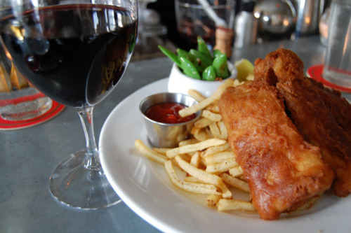 Fish and chips avec vin rouge (an odd pairing, nonetheless), what's for lunch during England vs. France Euro 2012 match.