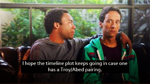 I hope the timeline plot keeps going in case one has a Troy/Abed pairing.