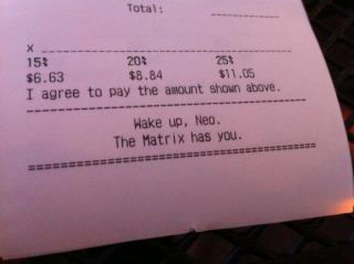 Matrix Reference on Reciept Should we order some dessert of the real?