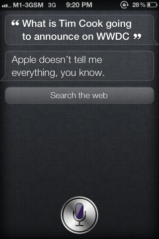 justbeingseriouslysocial:  Siri answers what Tim Cook might announce at WWDC! via @mugunthkumar