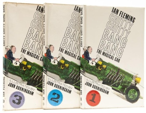 Chitty Chitty Bang Bang Ian Fleming.  1964-5.  3 vol., first edition, illustrations, small loss to corner of front free endpaper of vol. 1, original boards, very slightly cocked, small spot to lower cover of vol. 2, otherwise all near-fine, dust-jackets, a little rubbed at extremities with few minor marks, small tear to head of vol. 3 upper panel, ink price override to vol. 2., in all a very good set, 8vo, 1964-5.