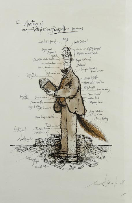 Anatomy of an Antiquarian Bookseller Ronald Searle. Colour offset lithograph, one of 50 copies printed on handmade paper and signed and dated in pencil by the artist, framed and glazed, c.710 x 520mm., 1976.  B-A Note:  This is wonderful! I hope I can track down a print or copy, at least, for my wall - since this original is a little outside my discretionary spending fund.
