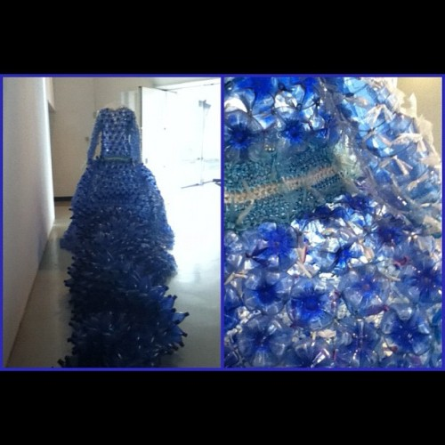 Dress made from recycled bottles and plastic bags. #blue #contemporary #art #france #modern #nice #recycle #plastic #bottles #bags #closeup #nofilter (Taken with Instagram at MAMAC, Nice, France)
