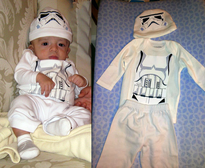This is my  son who was 2 months old on Halloween 2011. Due to some medical issues he was small and underweight at his age, and was impossible to find him a costume to fit. So I created one for him. I made some drawings and printed them on iron on paper. I even did the back side of the suit. Yes, he is a little short for a stormtrooper.
