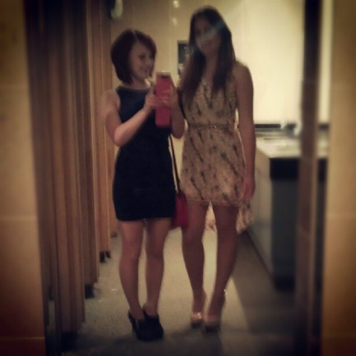 meganbroomfield:  Girls night!! Classic loo pics (Taken with Instagram)  My best mate moo on the left and me on the right- drunk classic loo pic :)