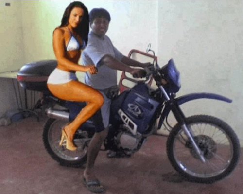 Woman Poorly Photoshopped Onto Motorcycle Sorry my girlfriend couldn't make it guys, but here's a photo of us together.