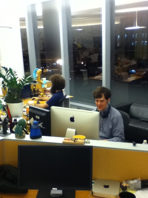 This picture of Owen and Kevin sitting at their desks playing Diablo 3 was taken at 1 a.m. on a Saturday night during a party.