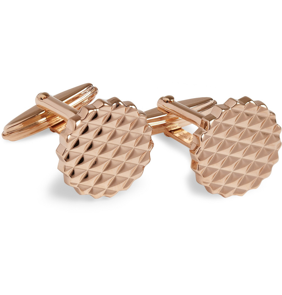 We'll be treating our cuffs to these rose gold links from Lanvin, arriving on site tomorrow. We suggest you do them same