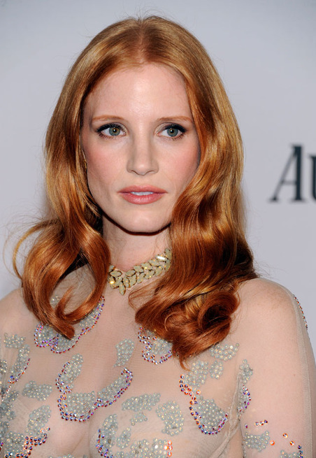 Jessica Chastain wants you to look her in the eyes when you speak to…HEY! up here pal. RED CARPET PHOTOS: The 2012 Tony Awards