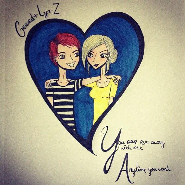 sayanythingmydear:  Gerard + Lyn-Z 😘 I drew this for a friend (Taken with Instagram)