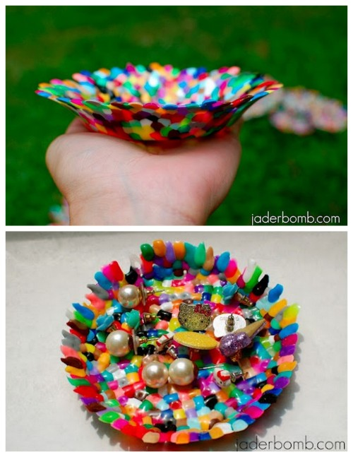 DIY Perler Beads Plastic Bowl Tutorial. Some of my friends would love this project because they would obsessively sort the beads by color - and they read this blog and know who they are. Obviously a project with lots of adult supervision - do I need to write this anymore? Tutorial from How to Nest for Less here. *For other unusual (but cool) Perler Bead projects go here:  truebluemeandyou.tumblr.com/tagged/perler-beads