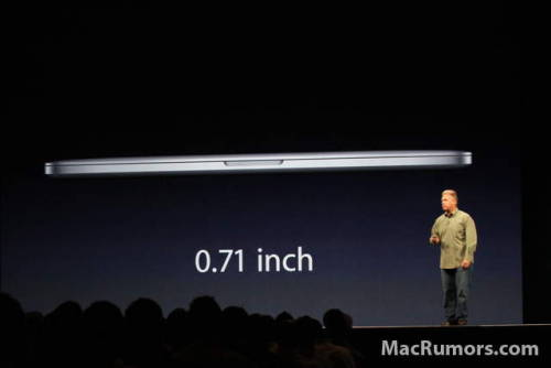 "New MacBook Pro: Not many ports. .71 inches thin. 13 and 15 inch models. 2880x1800 resolution. ""Thin as Air."" Mind blowing. (More here.)"
