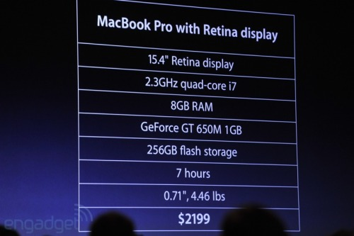 And here's the spec sheet for the new Macbook Pro with Retina Display
