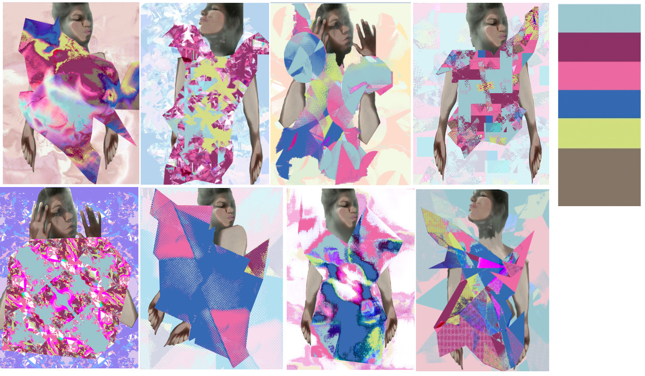 Digital print designs in a fashion context. Colour palette from WGSN 'Augmented Reality'