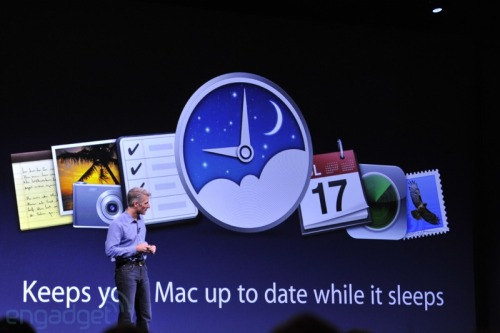 "Introducing Power Nap: A new feature that allows your Macbook Air or Macbook Pro to update while it's asleep. ""We all love using our Macs, but wouldn't it be great if when we weren't using them they were still working for us?"""