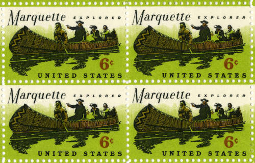 "These 1968 ""Marquette Explorer"" six-cent stamps depict Father Jacques Marquette and Louis Joliet during their 1673 Mississippi River expedition. (Click photo for a larger image) Follow Father Marquette's continued exploration today on Foursquare."