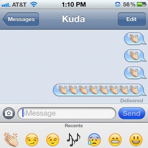 gowherehiphop:  I just texted @kuda708 an iPhone slow clap. (Taken with Instagram)