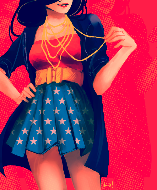 Wonder woman fashion. knightowls:  I'm planning to open up commissions soon for the ~*first time ever*~, and so have been struggling to get my rusty digital art gears going again! Here's some more fanart of fanart, meganrinri's lovely Wonder Woman outfit design.