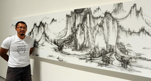 remediosthebeauty:  Chen Hun-Hao mimics landscape paintings by great Chinese painters from the 11th century, only he has a slightly different take in that he uses a nail gun.  The results however, are equally as stunning and impressive.