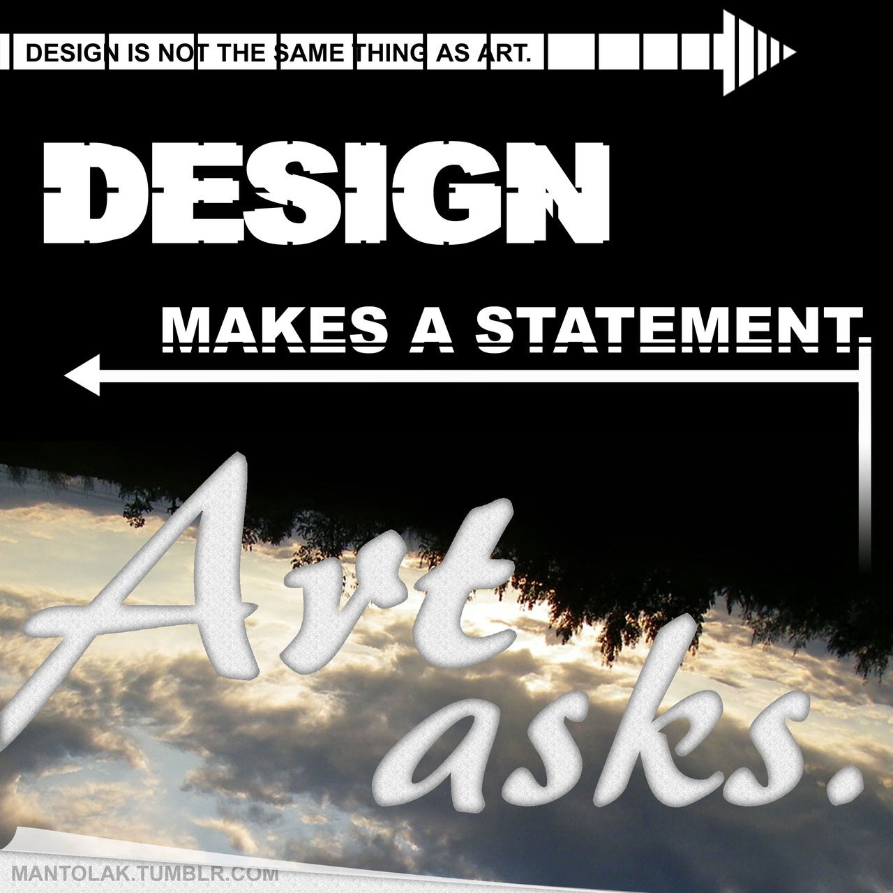 Art v. Design, this one was inspired by a response from the artist, myedol, who gave a beautiful description of the difference between art and design.