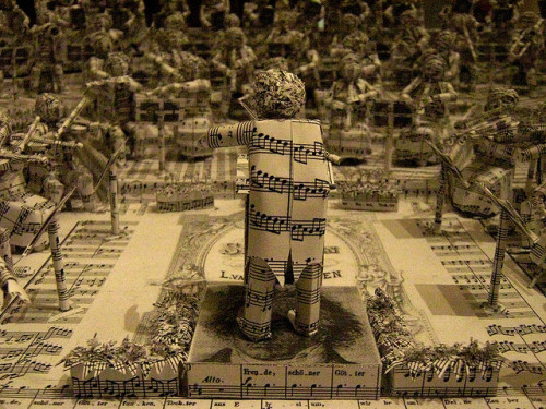 leadingtone:  Paper sculpture of Beethoven conducting his Ninth, Tate Modern. Photo by ian boyd.