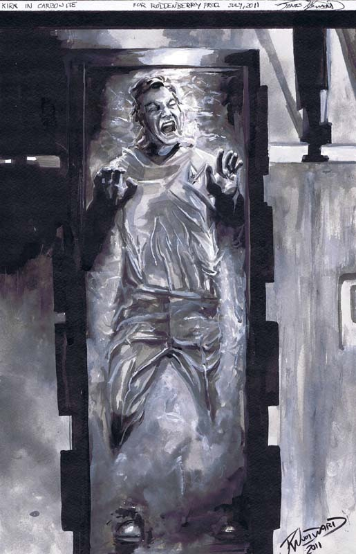 cadencecomicart:  Captain Kirk in Carbonite by JK Woodward www.CadenceComicArt.com