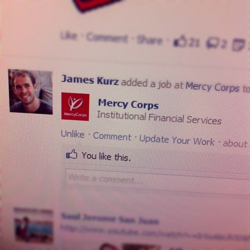 The good folks at @MercyCorps just got a major upgrade to their financial services braintrust (Taken with Instagram)