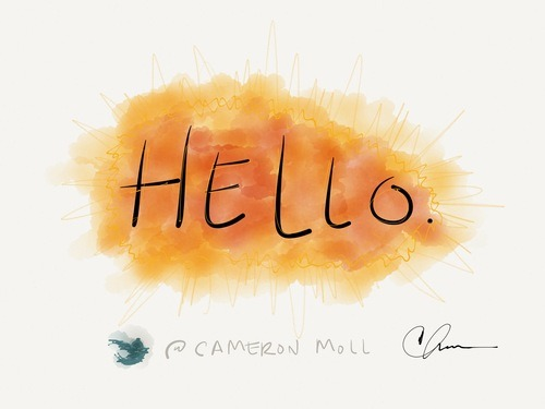 iPad sketch, 'Hello'