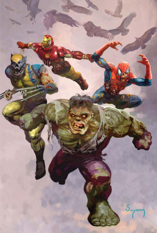 comicbookartwork:  Marvel Zombies: Hulk, Wolverine, Iron Man and Spider-Man